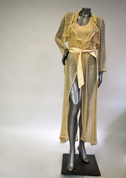 Yellow, Long Trench Coat Sale - Netting Design