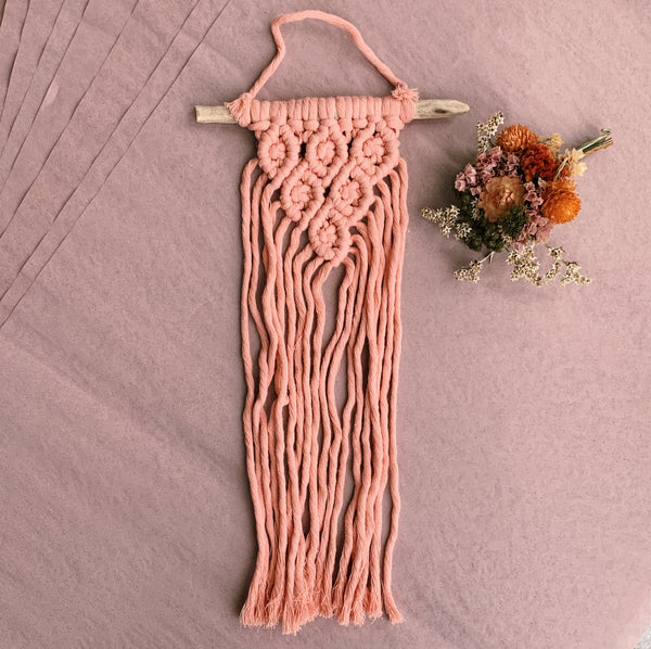 Mini Pink Macramé Wall Hanging