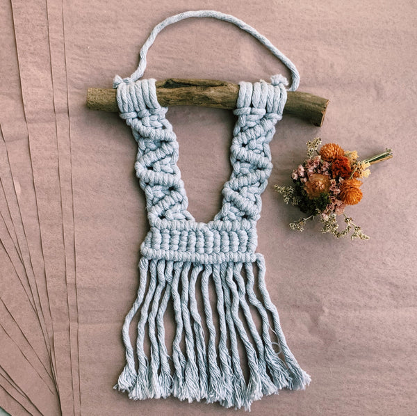 Mini Grey Macramé Wall Hanging