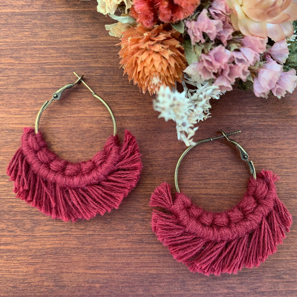 Brass Macramé Hoop Earrings