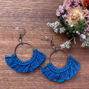 Large Brass Macramé Hoop Earrings