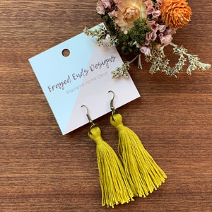 Brass Macramé Tassel Earrings
