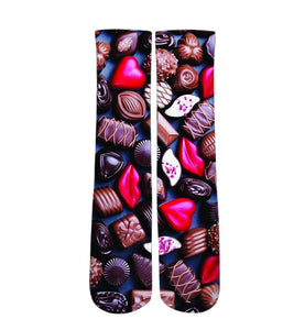 Chocolate Valentines Day printed crew socks
