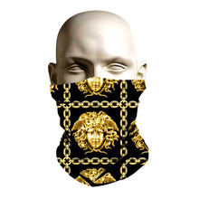 Load image into Gallery viewer, Face Shield - Gold Versace pattern Design