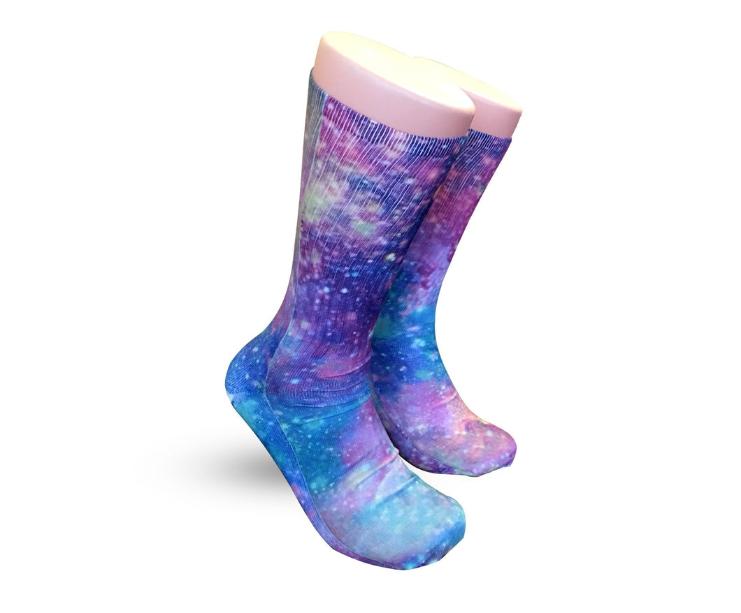 Purple Nova galaxy socks - Elite sublimated crew socks - DopeSoxOfficial