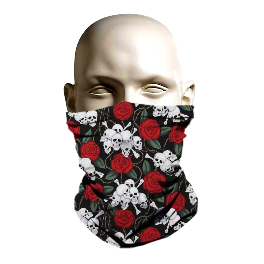 Ski Mask face shield - Skull and rose pattern design