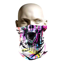 Load image into Gallery viewer, Ski Mask face shield - Spray paint skull design