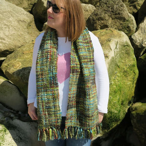 Chunky Tweed Scarf Winter Lime