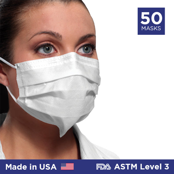 Crosstex Ultra Sensitive Earloop w/Secure Fit Mask ASTM Level 3 (Made in USA) - 50/box