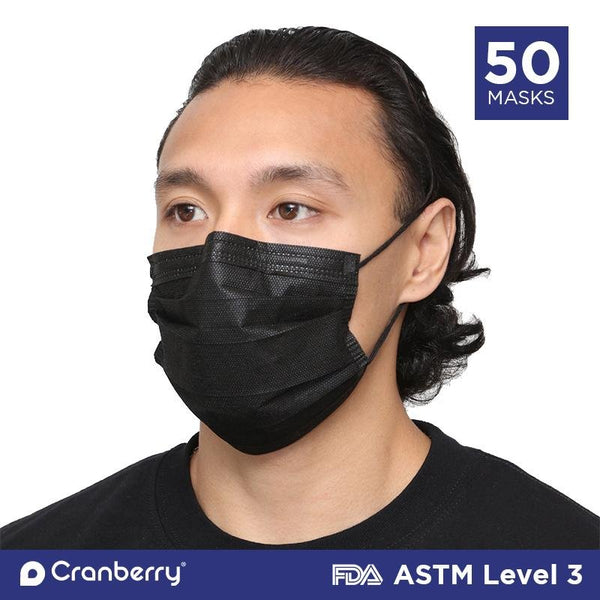Black Disposable Surgical Face Mask ASTM Level 3 - 50/box - Primo Dental Products