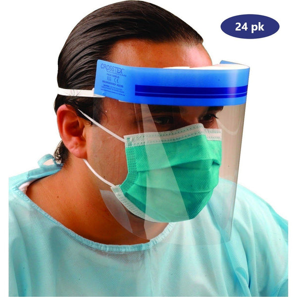 Crosstex Reusable Full Length Plastic Face Shield (Made in USA) - 24 pk - Primo Dental Products