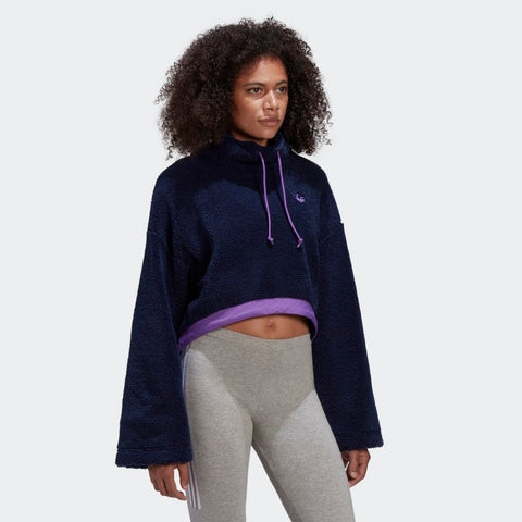 ADIDAS FELPA CROPPED FLEECE Collegiate Navy/Active Purple