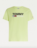 TOMMY JEANS T-SHIRT IN COTONE BIOLOGICO CON LOGO OVERSIZE FADED LIME