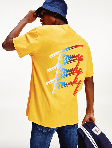 TOMMY JEANS T-SHIRT CON LOGO FIRMA RIPETUTO FLORIDA ORANGE