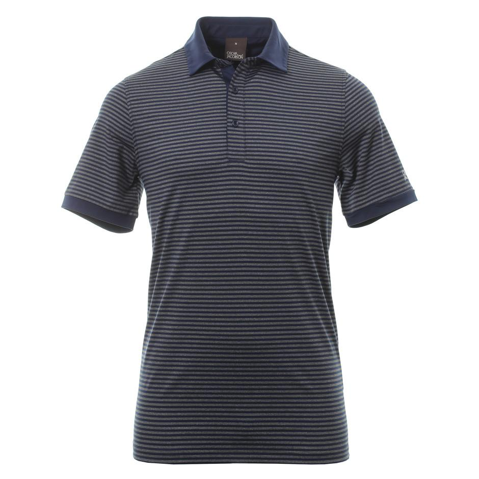 Oscar Jacobson Chester Golf T-Shirt - Grey Marl/Navy