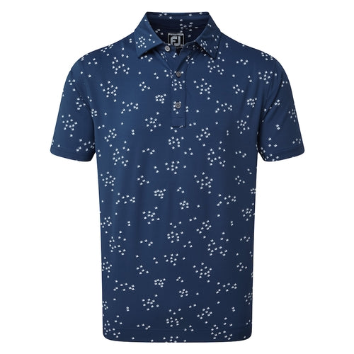 Footjoy Lisle Flock Of Birds Navy Print Golf T-Shirt main