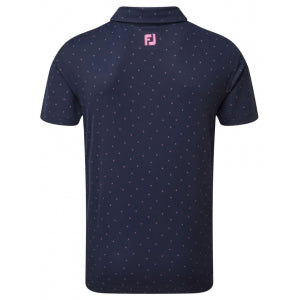 Footjoy Pique Print Golf T-Shirt navy berry back