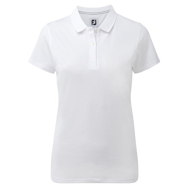 Footjoy Ladies Pique Stretch Solid Golf Polo Shirt - White