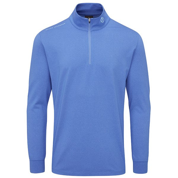 Oscar Jacobson Loke Mid-Layer Golf Sweater - Blue