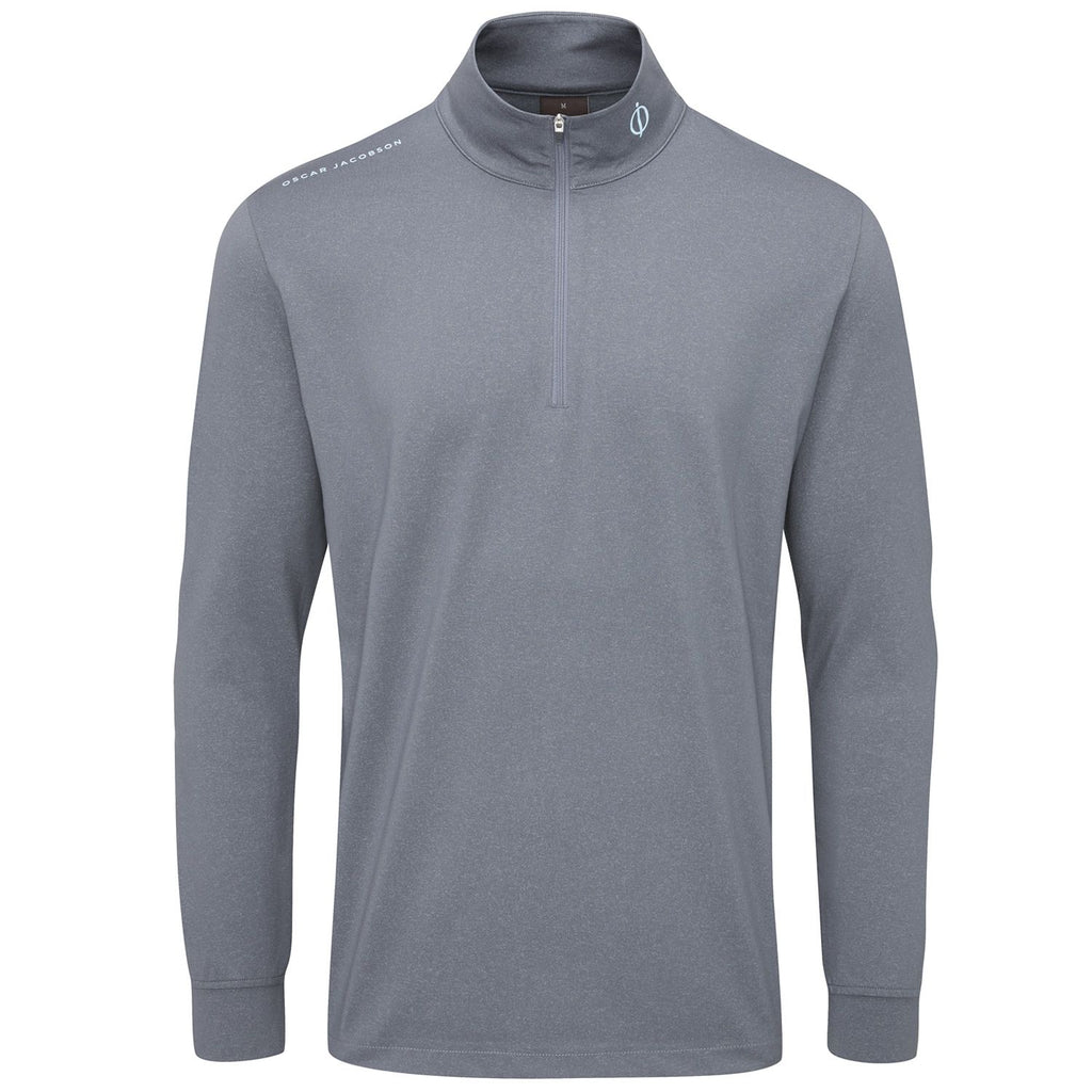 Oscar Jacobson Loke Mid Layer Golf Sweater - Blue/Charcoal