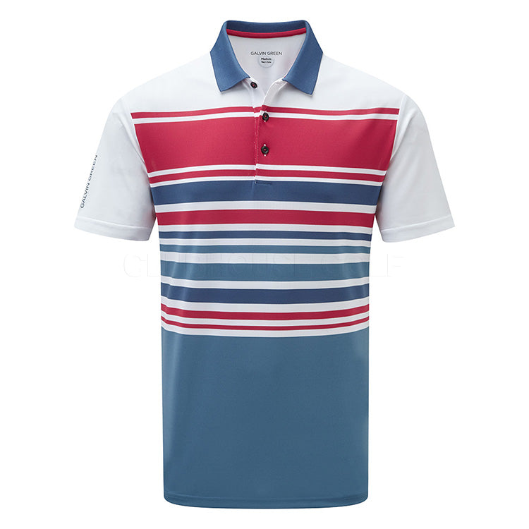 Galvin Green Miguel V8+ Golf Polo Shirt - White/Barberry/Faded Denim