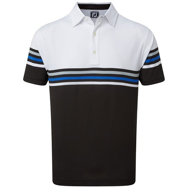 Footjoy Pique Block Golf Polo - White/Black
