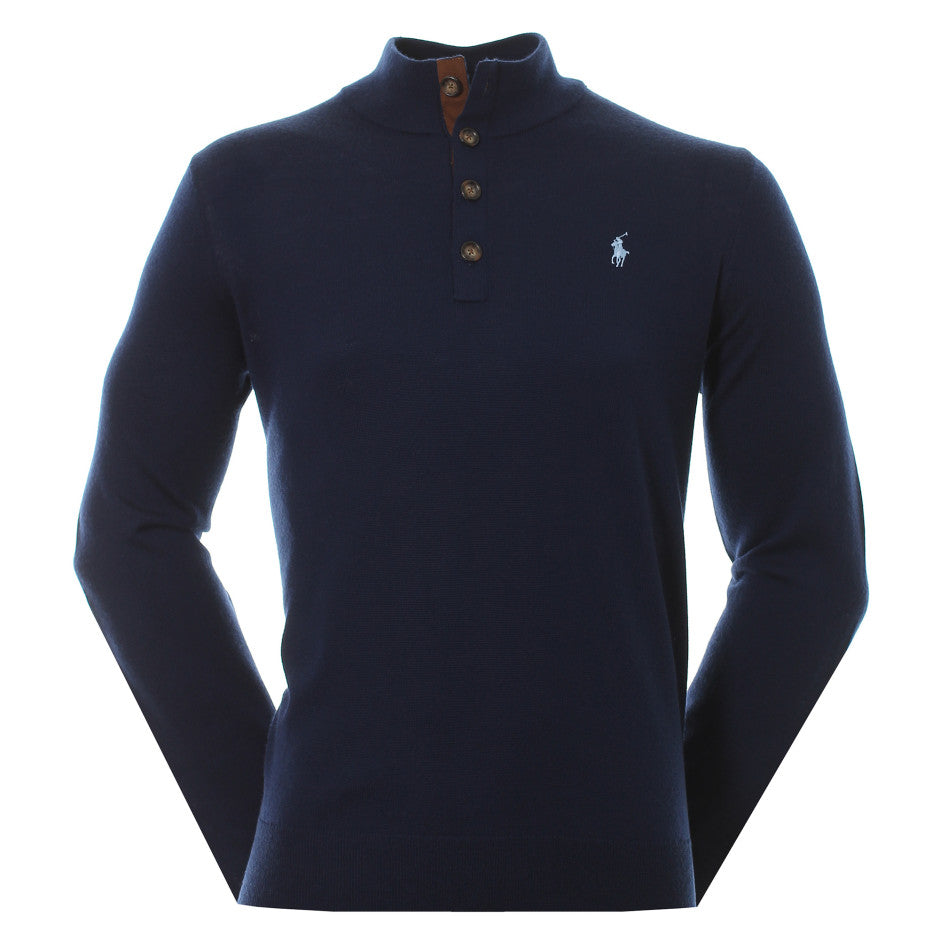 Ralph Lauren Polo Golf Button Knit Sweater - Navy
