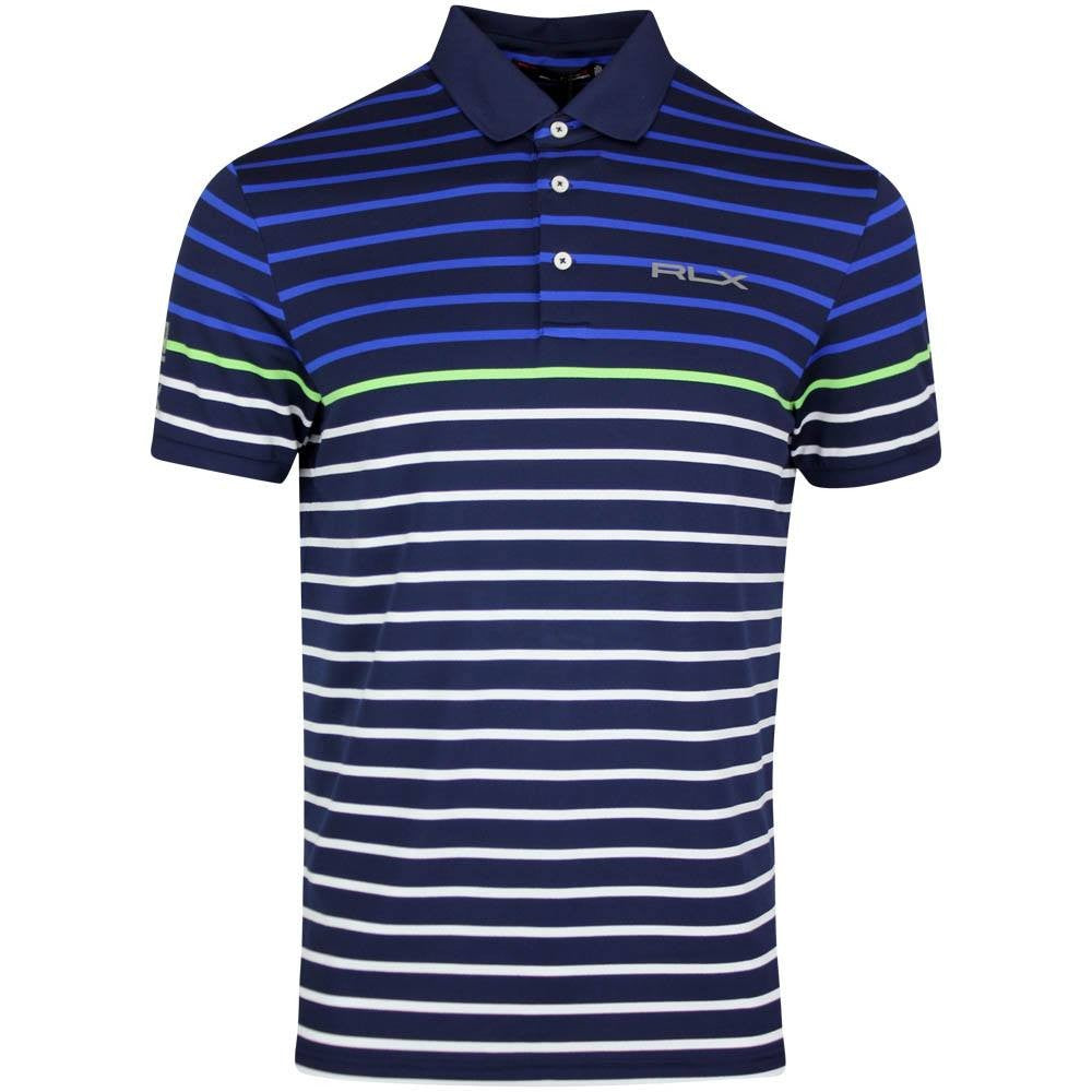 RLX Golf Stripe Pique Golf T-Shirt - Navy/White/Green