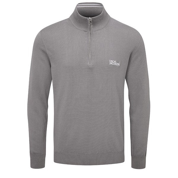 Oscar Jacobson Waldorf Tour Knit Golf Sweater - Grey