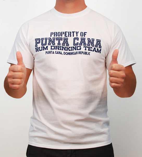 Hot Penguin, Ltd. Property of Punta Cana Rum Drinking Team t-shirt for men in white, Punta Cana Collection - Hot Penguin, Ltd.