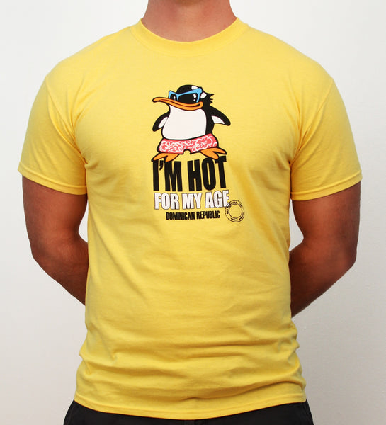 Hot Penguin, Ltd. I'm Hot for my Age t-shirt for men in yellow, Dominican Republic collection, yellow - Hot Penguin, Ltd.