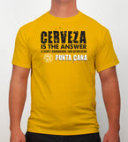 Hot Penguin, Ltd. Cerveza t-shirt for men in golden yellow, Punta Cana collection - Hot Penguin, Ltd.