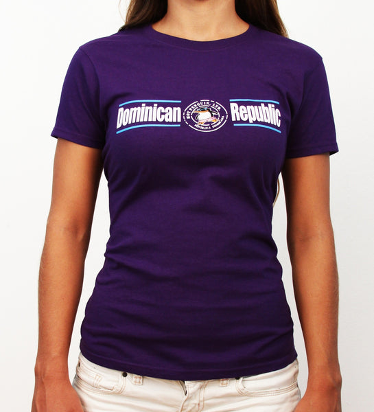 Hot Penguin, Ltd. with Dominican Republic t-shirt for women in purple, Dominican Republic collection - Hot Penguin, Ltd.