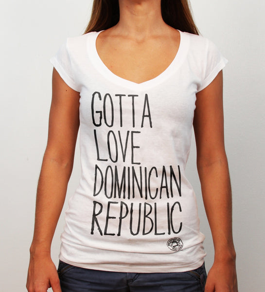 Gotta Love Dominican Republic, deep v-neck, white - Hot Penguin, Ltd.
