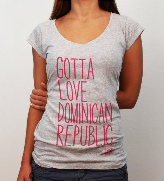 Gotta Love Dominican Republic, grey deep v-neck - Hot Penguin, Ltd.