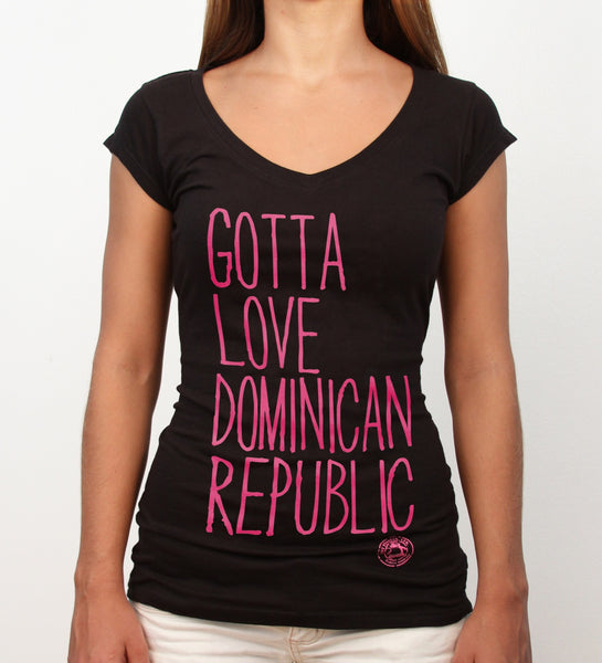 Gotta Love Dominican Republic, black deep v-neck - Hot Penguin, Ltd.