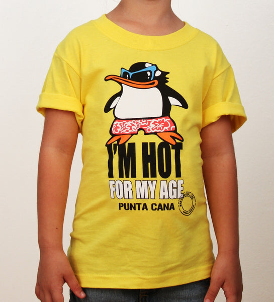 Hot Penguin Ltd. I'm Hot For My Age t-shirt for kids in yellow, Punta Cana Collection - Hot Penguin, Ltd.