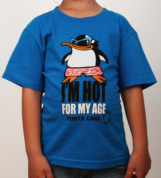 Hot Penguin Ltd. I'm Hot For My Age t-shirt for kids in turquoise, Punta Cana Collection - Hot Penguin, Ltd.