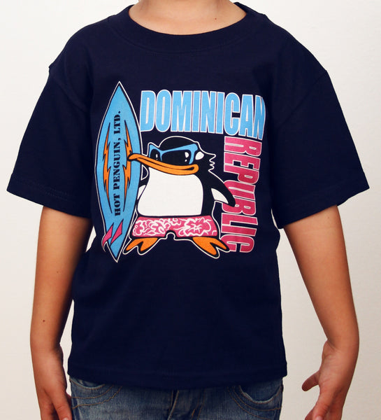 Hot Penguin Ltd. Surf Dominican Republic t-shirt for kids in navy blue, Dominican Republic Collection - Hot Penguin, Ltd.