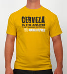 Hot Penguin, Ltd. Cerveza t-shirt for men in golden yellow, Dominican Republic collection - Hot Penguin, Ltd.
