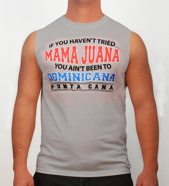 Hot Penguin, Ltd. If You Haven't tried Mamajuana sleeveless shirt for men in ice grey, Punta Cana collection - Hot Penguin, Ltd.