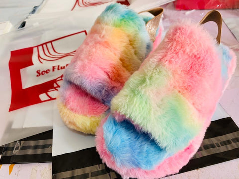 Soo Fluffy Slide Flat Sandals Cotton Candy