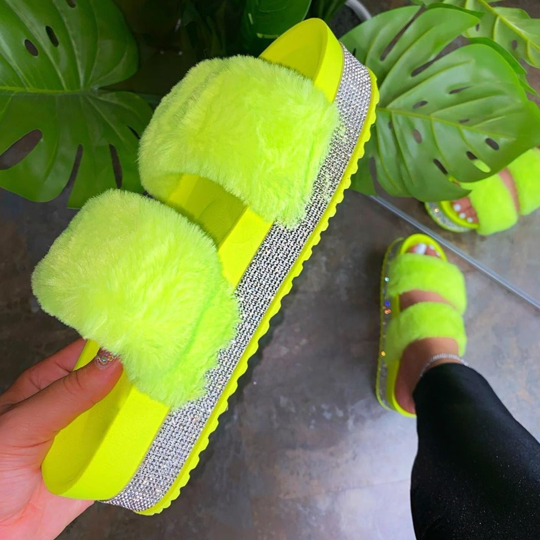Mia Fur Platform Sandals Mia Fur Platform Sandals - Soo Fluffy Soo Fluffy Neon Green / UK 4 / US 6 / EU 37