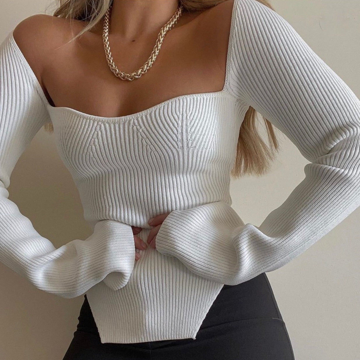 Long Sleeve Sweetheart Knit Top Long Sleeve Sweetheart Knit Top - Soo FluffyCLOTHING & ACCESSORIES Soo Fluffy