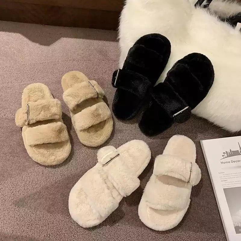 Cindy Buckle Fur Slides Cindy Buckle Fur Slides - Soo FluffySHOES Soo Fluffy Black / UK 4 / US 6 / EU 37