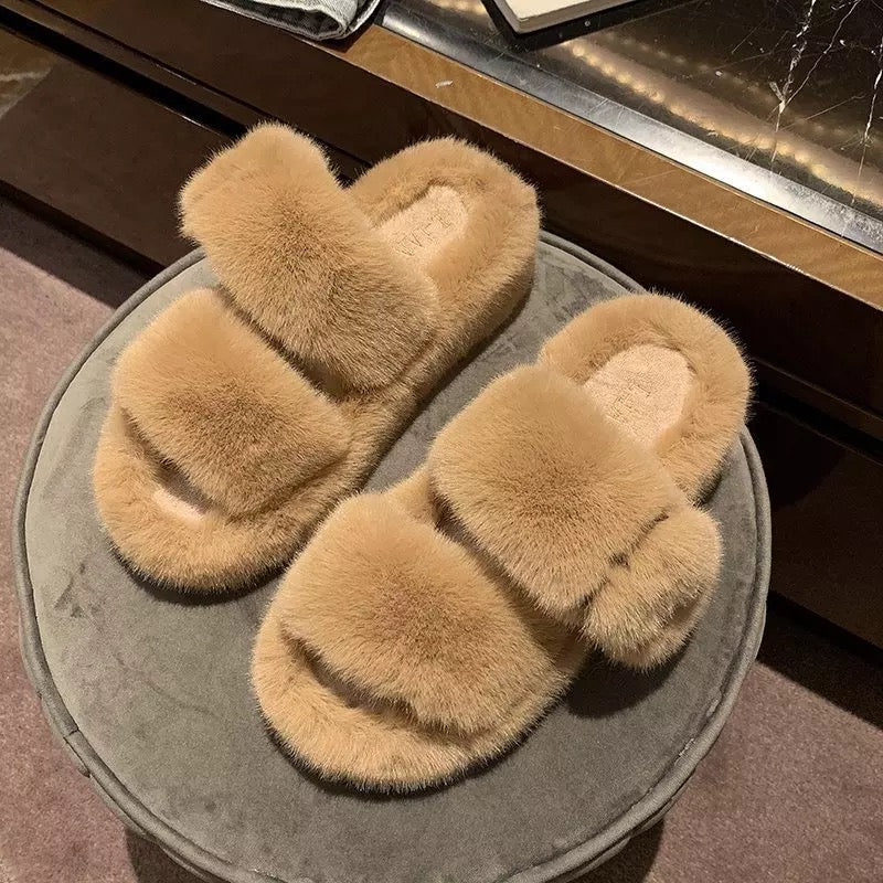 Cherry Buckle Fur Platform Slides Cherry Buckle Fur Platform Slides - Soo FluffySHOES Soo Fluffy Mint / UK 2 / US 4 / EU 35
