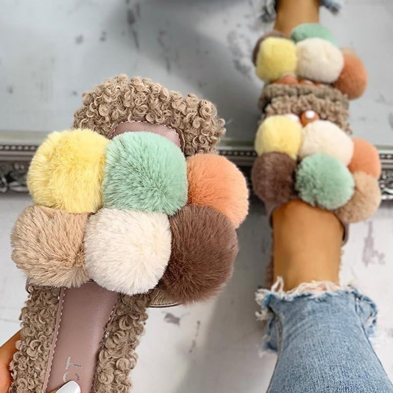 Cadence Fur Slippers Cadence Fur Slippers - Soo FluffySHOES Soo Fluffy Brown Multi / UK 3 / US 5 / EU 36