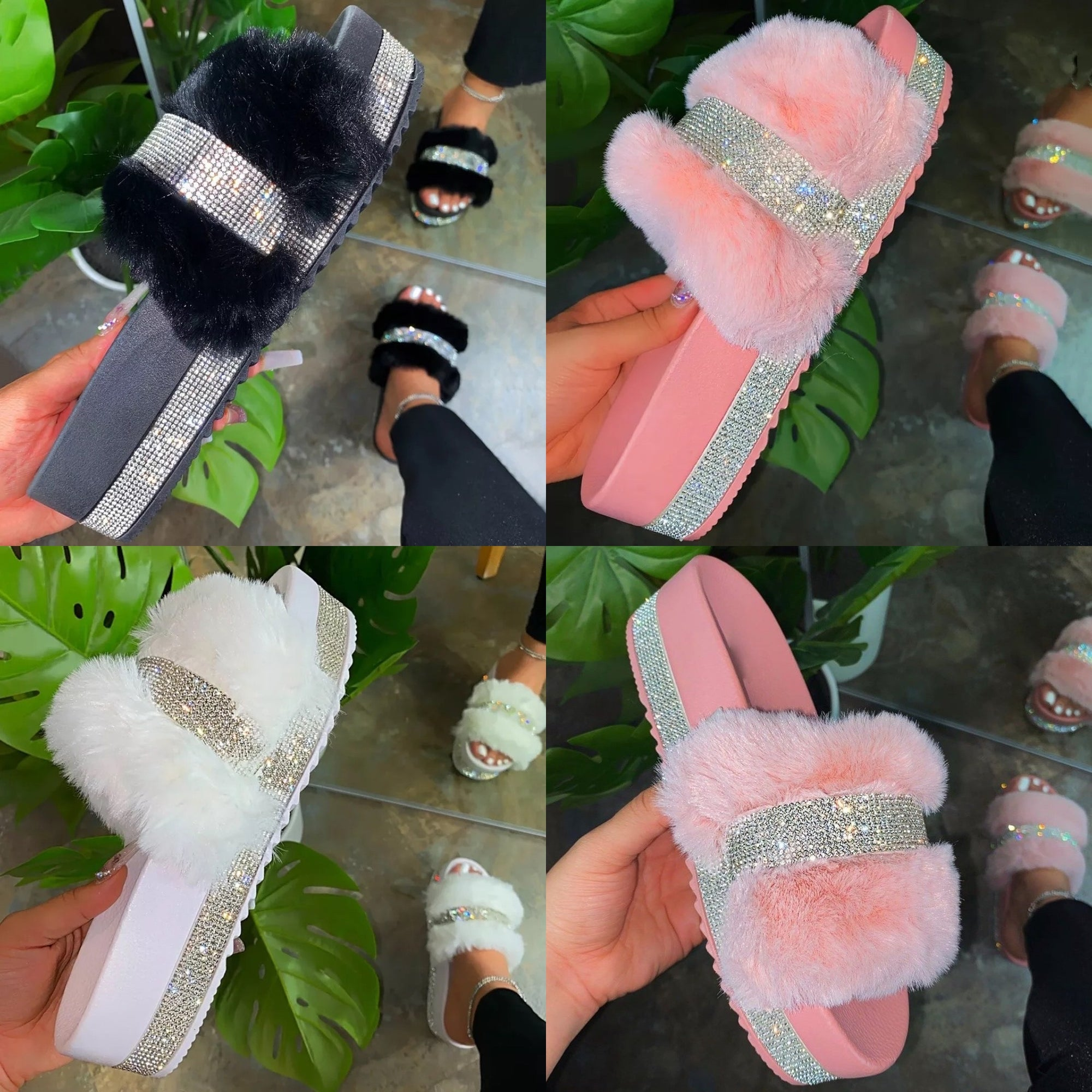 Crystal Fur Platform Sandals Crystal Fur Platform Sandals - Soo FluffySHOES Soo Fluffy Pink / UK 4 / US 6 / EU 37