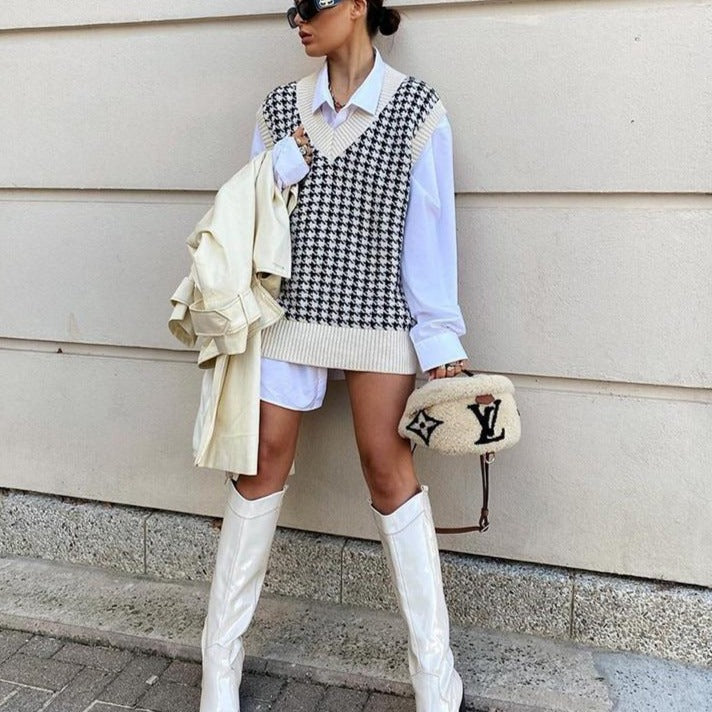 Oversized Houndstooth Knitted Vest Oversized Houndstooth Knitted Vest - Soo FluffyCLOTHING & ACCESSORIES Soo Fluffy