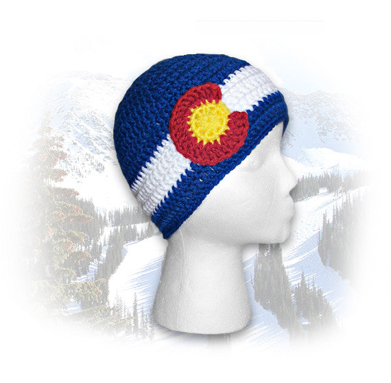 Crocheted Colorado Flag Beanie